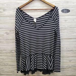 We The Free Black & White Striped Long Sleeve Top